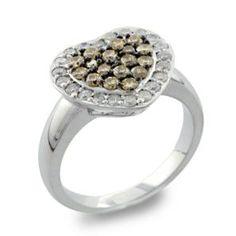 #Malakan #Jewelry - Silver Treated Yellow Diamond Heart-Shaped Ring 55835A4 #Fashion #FashionRings #WomensFashion