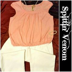 Peach Eyeshadow Top Great for Summer! Peach colored lightweight material. Cap sleeves and elastic waist with eyelet detailing on shoulders and back Eyeshadow Tops Blouses