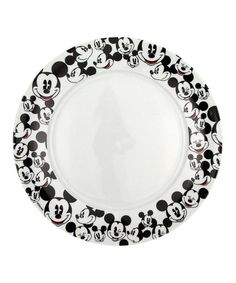 Mickey Heads Dinner Plate - Set of Four #zulilyfinds  sc 1 st  Pinterest & Gourmet Mickey Mouse Dinner Plate Set - Black/White | The Gift Shop ...