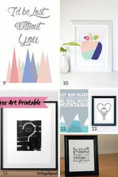 Awesome free printables! Technically for a nursery, but some of these would be great elsewhere.