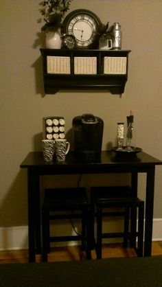 Coffee station. I love the table instead of the cupboard idea!