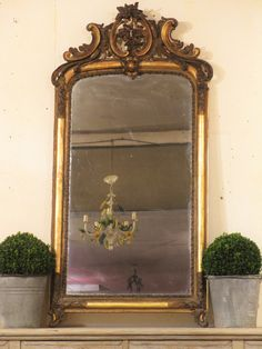 Napoleon III mirror 182 Dating back to the 1800s, this Napoleon III mirror still has it's original mercury glass, and is in excellent condition. A gilt wood and plaster moulded frame featuring a decorative crest above.  88cm wide x 182cm tall (including frame & crest) x 18cm deep