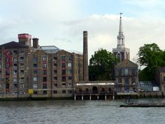 Thames Tunnel Mills and Saint Mary's historic church Rotherhithe.
