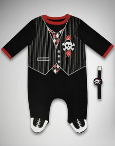 Skull and Vest Infant Sleeper and Wrist Rattle Set