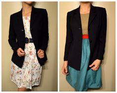 90s Dark Blue Blazer Suit Jacket
