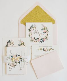 adorable blush floral and glitter inclusive invitation suite by The First Snow http://www.weddingchicks.com/2014/02/07/custom-blush-gold-posies/