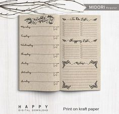 Printable Weekly Planner, Midori Weekly Planner, Printable Midori Traveler's Notebook weekly planner inserts, PDF file