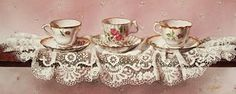 Contemporary Realism: Still Life with Tea Cups and Lace Cute Tea Cups, Borders For Paper, Tea Art, Rose Tea, Fb Covers, Decoupage Paper, Pink Peonies, Shabby Chic Decor, Still Life