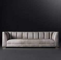 RH's Paxton Leather Sofa:Vertical channel stitching adds visual and tactile depth to our collection's rich upholstery. Inspired by postmodern design, the low-sitting frame features a high back, plush bench cushion and sheltering arms. Sofa Furniture, Sofa Chair, Sofa Set, Luxury Furniture, Furniture Design, Furniture Outlet, Settee, Discount Furniture, Living Room Sofa