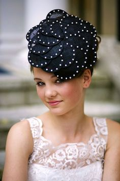 Lizzie - Black Flower Style Sinamay Fascinator with Pearl Detailing for Weddings or Races