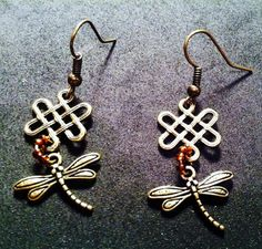 Outlander Series Inspired Dragonfly and Amber Earrings