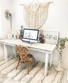 Boho home office with vintage decor, Moroccan wedding blanket, bohemian wall hanging bedroom white wood desk wicker chair urban outfitters Home decor, office decor, Bedroom Desk, Bedroom Themes, Bedroom Furniture, Bedroom Designs, Furniture Market, Wood Bedroom, Wicker Furniture, Furniture Sale, Wicker Dresser
