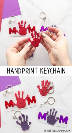 See how to make a Mother's Day Shrinky Dink keychain. Make a MOM keychain or a handprint shrinky dink keychain for Mother's Day! Cute Kids Crafts, Mothers Day Crafts For Kids, Diy Mothers Day Gifts, Fathers Day Crafts, Crafts For Kids To Make, Mothers Day Cards, Mother Day Gifts, Gifts For Kids, Parent Gifts