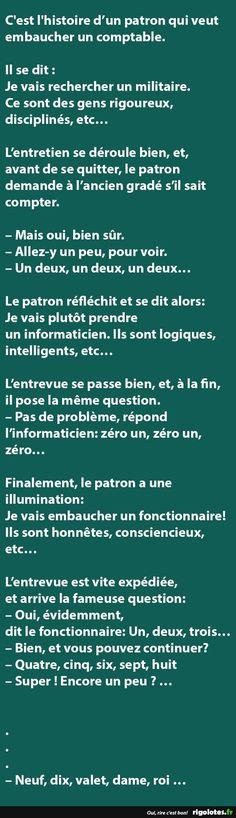 C'est l'histoire d'un patron qui veut embaucher un comptable... - RIGOLOTES.fr Funny Jokes, Hilarious, Im Sad, Learn French, Chef, Funny Images, Affirmations, Quotations, Positivity