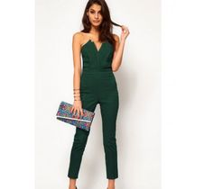 ca7ccdcef5e Bottle Green Strapless V Front Pleated Romper Jumpsuit Elegante