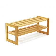 2-Tier Bamboo Shoe Rack - I've had 2 of these stacked (they're separate now); each shelf holds 4 pair of shoes