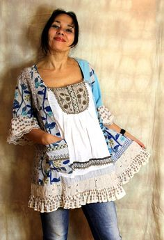 L shabby chic embroidered recycled patchwork dress tunic hippie boho Sewing Clothes, Custom Clothes, Diy Clothes, Boho Hippie, Boho Gypsy, Fashion Line, Boho Fashion, Vintage Fashion, Tops Boho