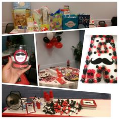 Moustache red and black theme shower #baby #party #table