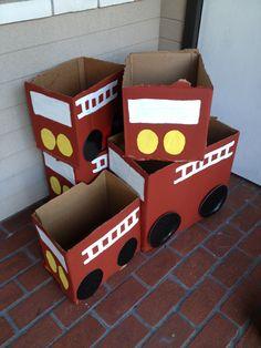 Cardboard box firetrucks