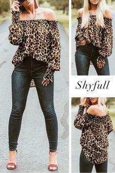 Shyfull Vogue Leopard Printed Brown T-shirt Diva Fashion, Look Fashion, Trendy Fashion, Plus Size Fashion, Autumn Fashion, Fashion Outfits, Womens Fashion, Fashion Ideas, Pull Torsadé