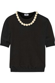 Moschino Cheap and Chic Bead-embellished wool and cotton-blend sweater | NET-A-PORTER