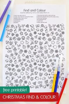 Free Christmas find and color sheet. Fun early finisher or snowy day activity for kids!