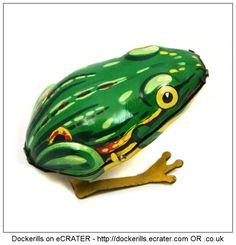 Hopping Frog, KOHLER, West Germany ( Picture 1 of 2). Vintage Tin Litho Plate Toy. Wind-Up / Clockwork Mechanism.