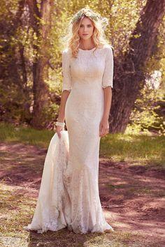 9a736b78d4a770 maggie sottero spring 2017 bridal half sleeves jewel neckline full  embellishment elegant conservative sheath wedding dress full back chapel  train (mckenzie ...