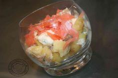 salade de pomme de terre tièdes au saumon