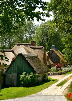 Germany, Simonsberg, a cottage village with reed roofs