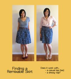 Remixing a skirt (with tops)  Putting Me Together: Building a Remixable Wardrobe, Part 2: Shopping for Remixable Pieces