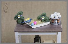 Miniature flocked grass rabbits for dollhouse Easter decor