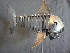 Fish Metal Sculpture Art Statue by SparedPartsArt on Etsy