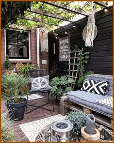 Small Rustic Terrace Garden Design Ideas with Low Budget to Improve Your H. Small Rustic Terrace Garden Design Ideas with Low Budget to Improve Your Home Pergola Shade, Pergola Patio, Backyard Patio, Backyard Ideas, Pergola Kits, Porch Ideas, Diy Patio, Rustic Patio, Small Pergola