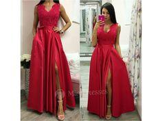 021044cccafd Červené spoločenské šaty so saténovou sukňou - Mia Dresses