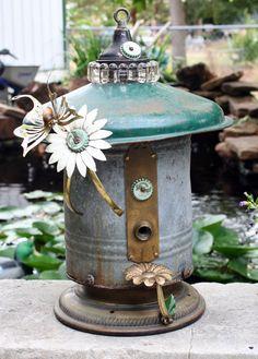 Birdhouse Metal Birdhouse Reclaimed Objects Birdhouse by channa01, $165.00