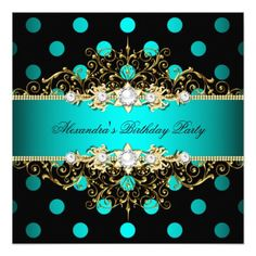 414 best elegant birthday party invitations images on pinterest elegant teal gold black polka dots birthday party invitation filmwisefo