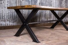 A fantastic addition to our large and extensive range of bespoke dining and restaurant tables, this great industrial style steel X-frame bespoke table. Timber Table, Table Frame, Top Restaurants, Restaurant Tables, Industrial Style, Entryway Tables, Pine, Dining Table, Patio