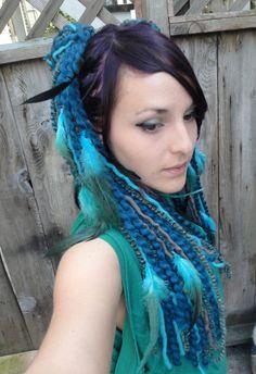 Tribal Sapphire Yarn Hair Falls by katecleaves on Etsy, $40.00