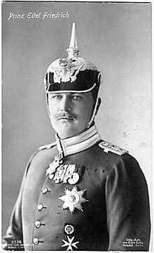 Prince Eitel Friedrich of Prussia (1883--1942), 2nd son of Kaiser Wilhelm II.  Eitel Friedrich fought on the front line in WWI.  He had a chance encounter with Manfred von Richthofen, aka The Red Baron, after the latter's plane crashed on the Russian front.  Eitel Friedrich received the Iron Cross 1st and 2nd Class and the Pour le Merite for his war service.  He was married to Duchess Sophia Charlotte of Oldenburg for 20 years but had no children.