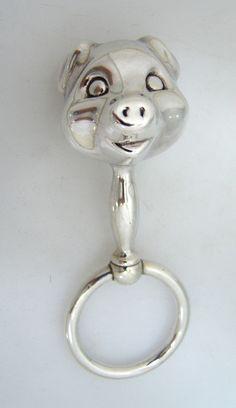Sterling Silver Figural Piggy Baby Rattle 1950