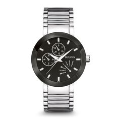 From the Classic Collection. Multifunction timepiece in stainless steel with domed metallized crystal, black enamel dial, retrograde day indicator, 24-hour and date sub-dials, luminous hands, screw-back case, and deployant closure.