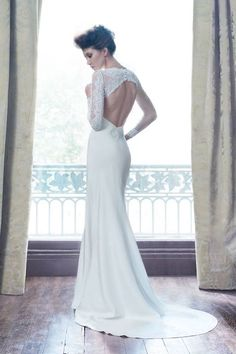 suzanne Neville wedding dress open back and longsleeve
