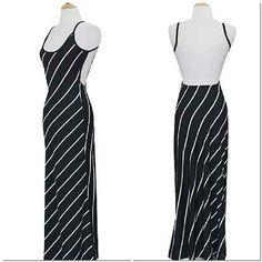Stripe cami open back maxi dress 80�0polyester 20 �0spandex