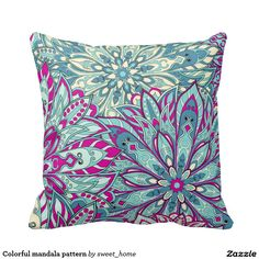 Colorful mandala pattern pillow  #Home #decor #Room #Interior #decorating #Idea #Styles #Traditional #Boho #Indian #Vintage #floral #motif