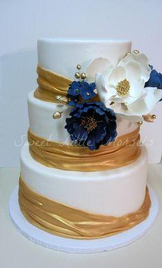 Gold and Navy Wedding Cake - by SweetLittleMorsels @ CakesDecor.com - cake decorating website