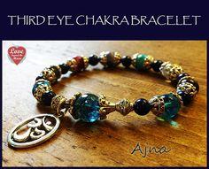 AJNA ~Third Eye CHAKRA activating Om Bracelet with Kyanite, Aqua Aura, Angel Aura Quartz, Amethyst, Sugilite, Sodalite and Turquoise Howlite