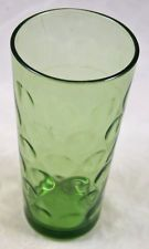 """Vintage Federal Glass Company Colonial Green Thumbprint 6 1/4"""" Drinking Tumbler"""