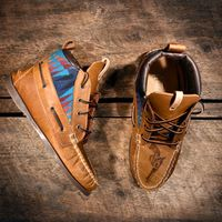 Handcrafted HIGHTOP Leather Boat Shoes - Distressed Tan w/ Teal Pendleton detail & etched pistols - MADE to ORDER