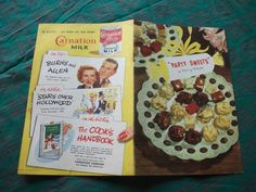 CookBook PARTY SWEETS Dessert Candy Recipes Antique Ad George Burns Gracie Allen